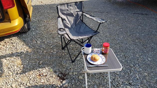 Campingstuhl, Campingtisch, Frühstückstisch